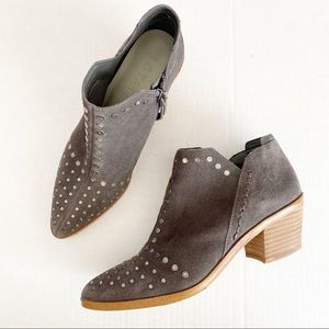 1. State Gray Suede Leather Studded Loka Booties